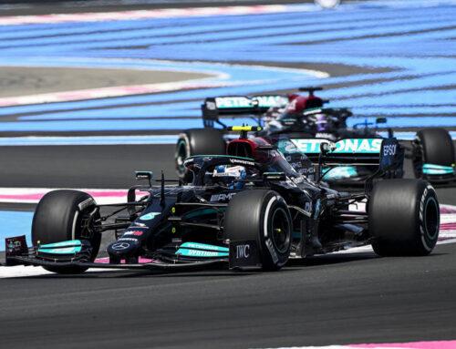 F 1 Gran Premio de Francia…Valtteri Bottas (FIN) Mercedes AMG W12 encabezó la Práctica 1 , su compañero Lewis Hamilton segundo.