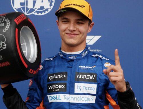 Lando Norris (McLaren-Mercedes) logra la pole en el GGPP de Rusia en condiciones de pista mojada seguido de Sainz (Ferrari) y Russell (Williams-Mercedes).